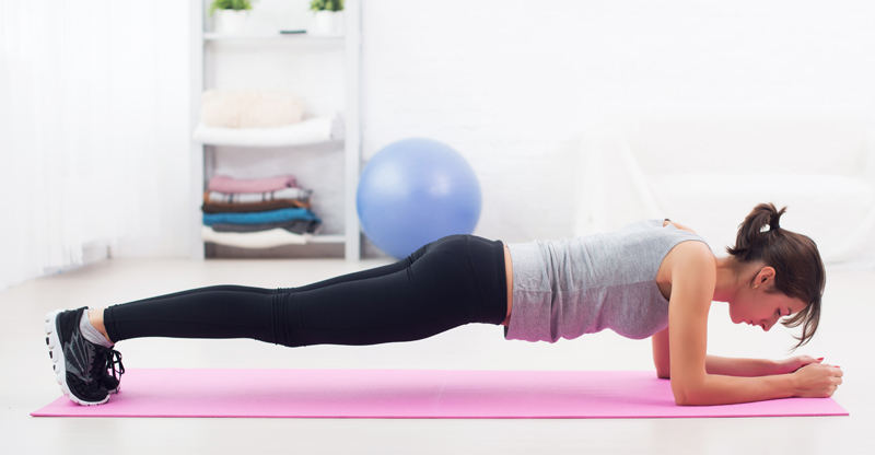 Plank back workouts from home
