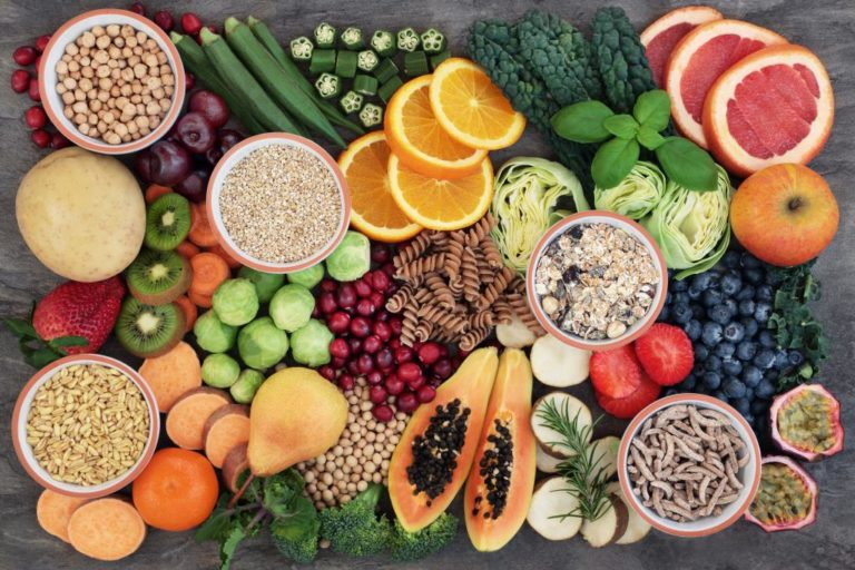 healthy diet for fitness on table